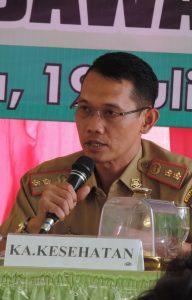 SAMPAIKAN LAPORAN - Kepala Dinas Kesehatan dr Hi. Herry Novrizal M.Kes saat menyampaikan tujuan rakor